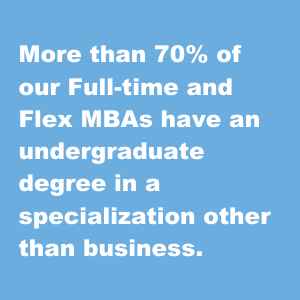 More than 70% of our Full-time and Flex MBAs have an undergraduate degree in a specialization other than business.